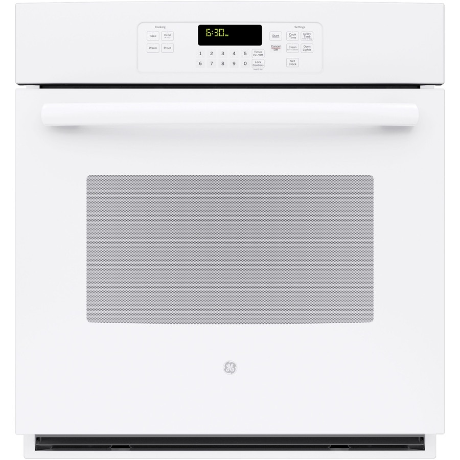 GE Self-Cleaning with Steam Single Electric Wall Oven (White) (Common: 27-in; Actual 26.71875-in)