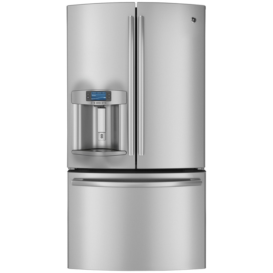 GE Profile 23.1-cu ft Counter-Depth French Door Refrigerator with Ice Maker (Stainless Steel)