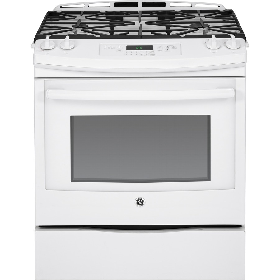 GE 5.6-cu ft Slide-In Gas Range (White) (Common: 30-in; Actual 31.25-in)