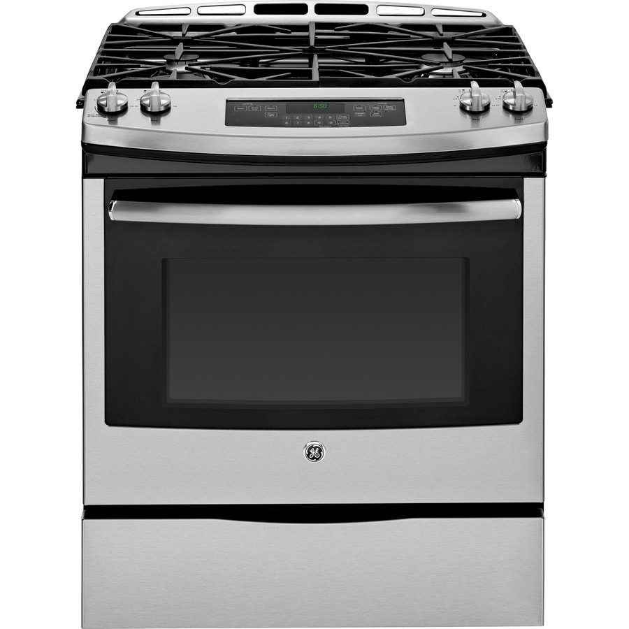 GE 5.6-cu ft Slide-In Gas Range (Stainless Steel) (Common: 30-in; Actual 31.25-in)
