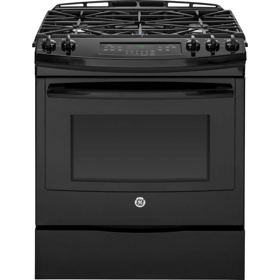 GE 5-Burner 5.6-cu ft Slide-in Convection Gas Range (Black) (Common: 30-in; Actual 31.25-in)