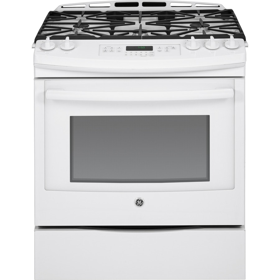 GE 5-Burner 5.6-cu ft Slide-In Convection Gas Range (White) (Common: 30-in; Actual 31.25-in)