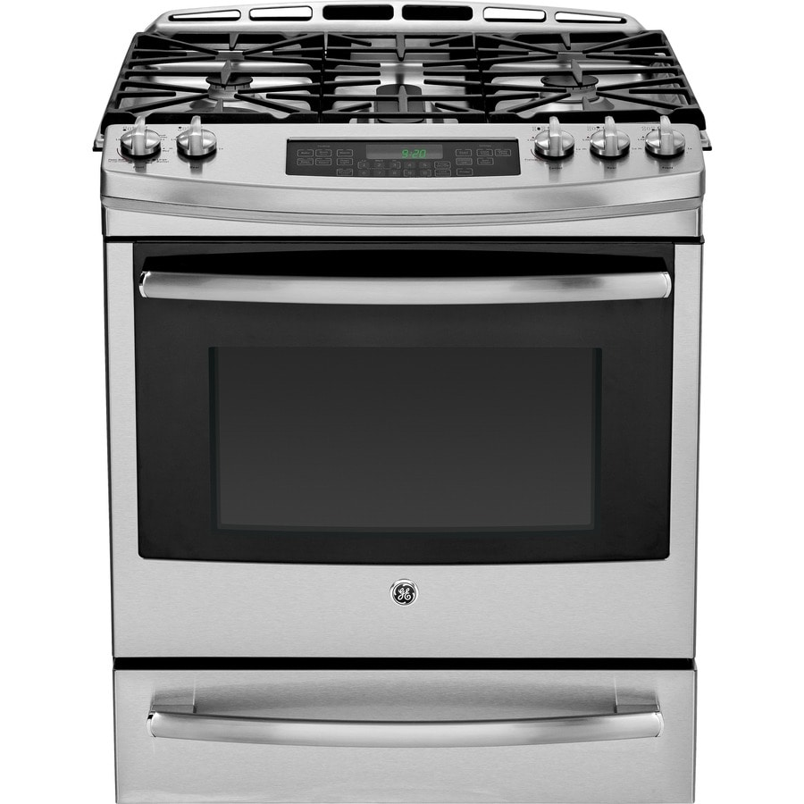 GE Profile 5-Burner 5.6-cu ft Self-cleaning Slide-In Convection Gas Range (Stainless steel) (Common: 30-in; Actual 30-in)