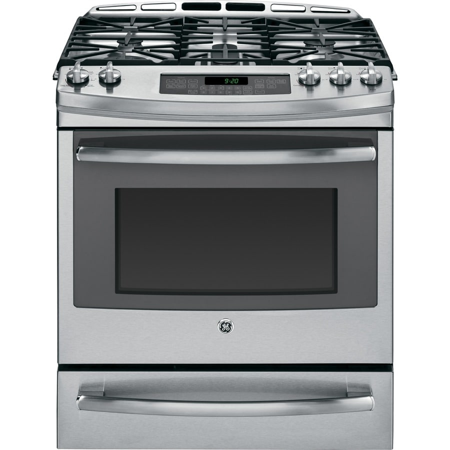 GE Profile Deep Recessed 5-Burner Self-cleaning Convection Single Oven Dual Fuel Range (Stainless steel) (Common: 30-in; Actual 30-in)