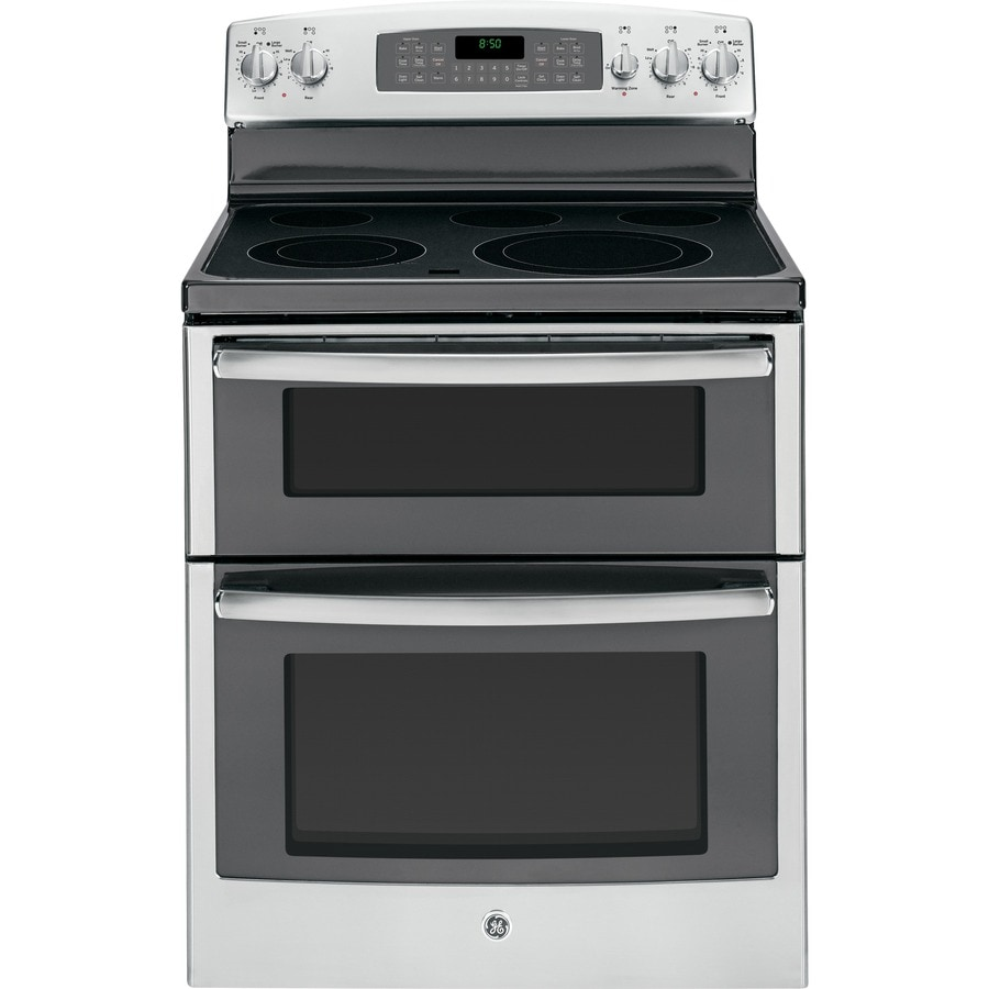GE 30-in Smooth Surface 5-Element 2.2-cu ft/4.4-cu ft Double Oven Electric Range (Stainless Steel)
