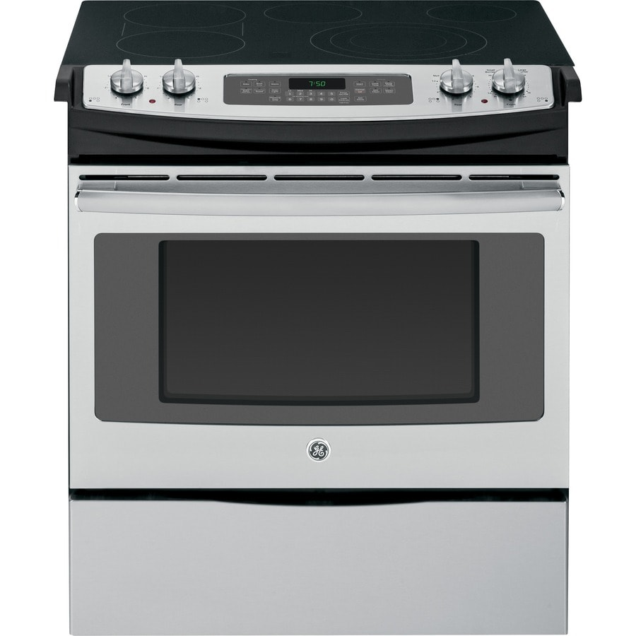 GE Smooth Surface 5-Element Slide-In Convection Electric Range (Stainless Steel) (Common: 30-in; Actual 31.25-in)