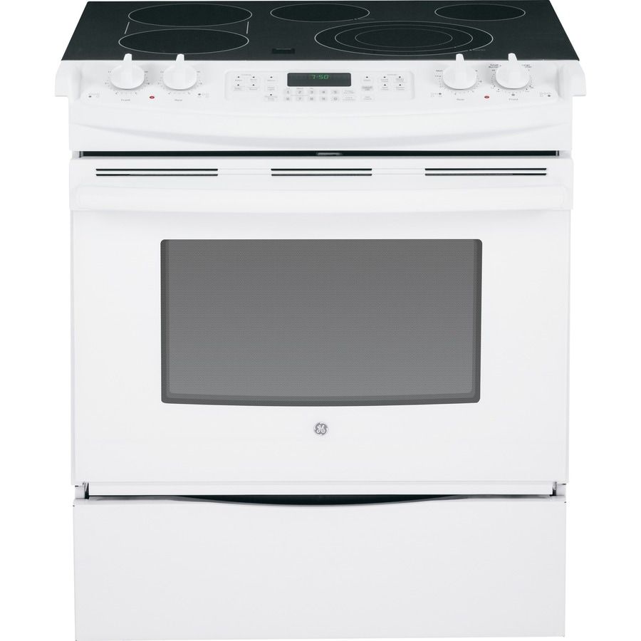 GE Smooth Surface 5-Element Self-Cleaning Slide-In Convection Electric Range (White) (Common: 30-in; Actual 31.25-in)