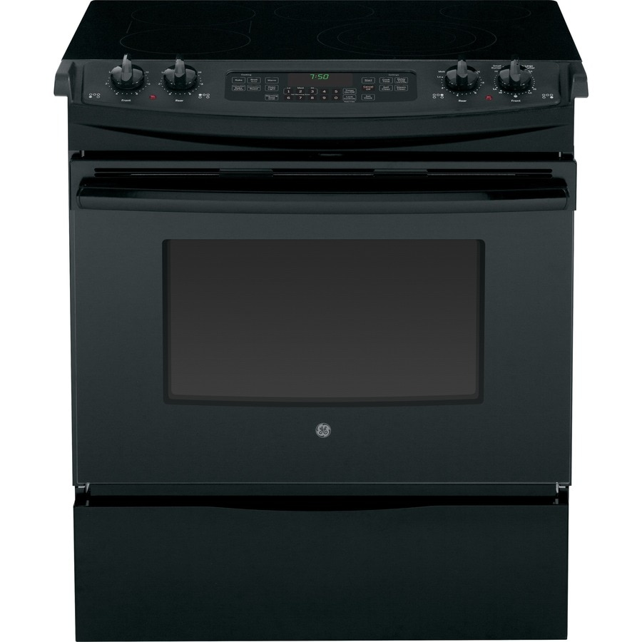 GE Smooth Surface 5-Element Slide-In Convection Electric Range (Black) (Common: 30-in; Actual 31.25-in)