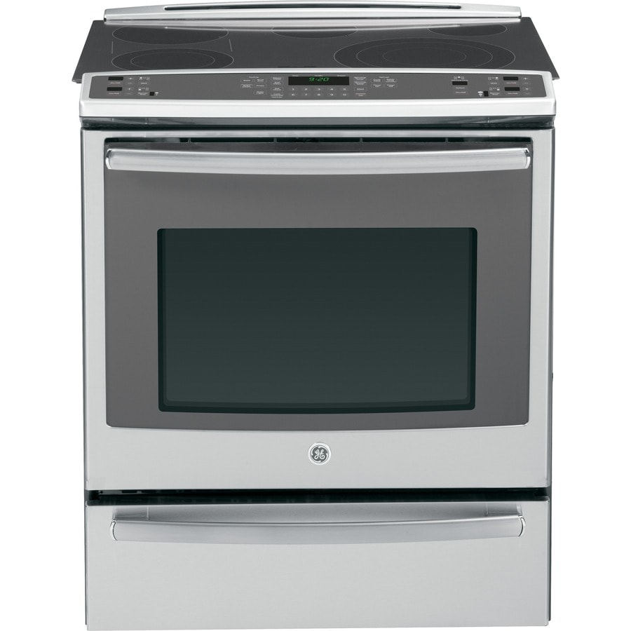 GE Profile Smooth Surface 5-Element Self-cleaning With Steam Slide-In Single-fan European Element Electric Range (Stainless steel) (Common: 30-in; Actual 31.25-in)