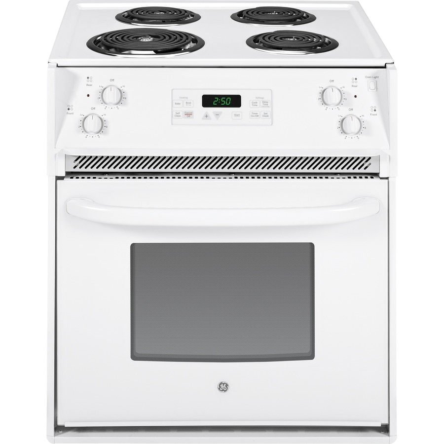 GE 27-in 3-cu ft Self-Cleaning Drop-In Electric Range (White)