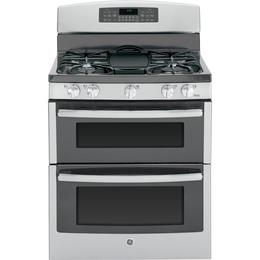 GE 30-in 5-Burner 2.5-cu ft/4.3-cu ft Self-Cleaning Double Oven Gas Range (Stainless Steel)