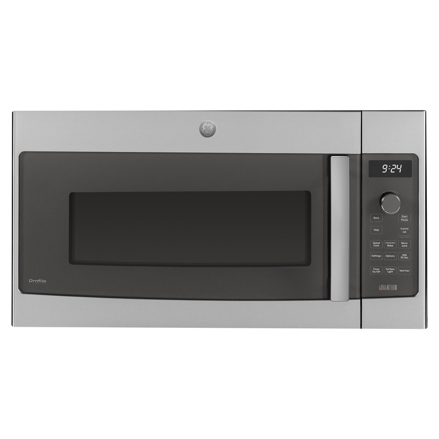 shop ge profile 1 7 cu ft over the range convection oven microwave stainless steel common 30. Black Bedroom Furniture Sets. Home Design Ideas