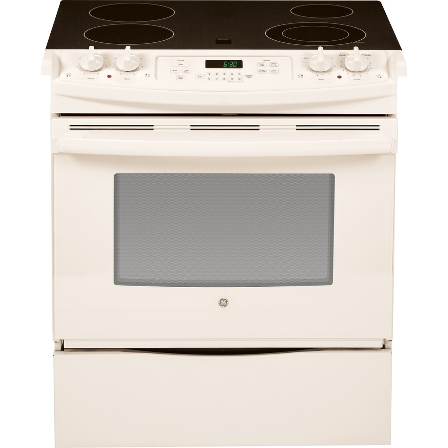 GE Smooth Surface 4-Element Self-cleaning Slide-In Electric Range (Bisque) (Common: 30-in; Actual 31.25-in)