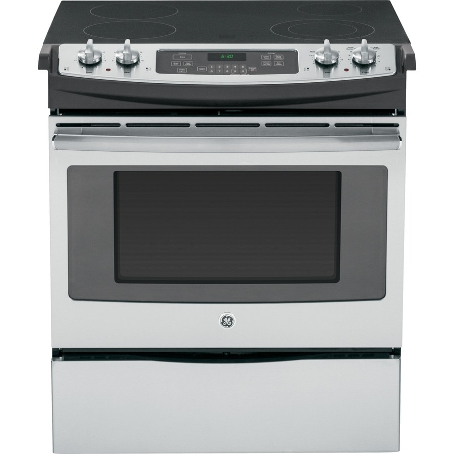 GE Smooth Surface 4-Element Self-cleaning Slide-In Electric Range (Stainless steel) (Common: 30-in; Actual 31.25-in)