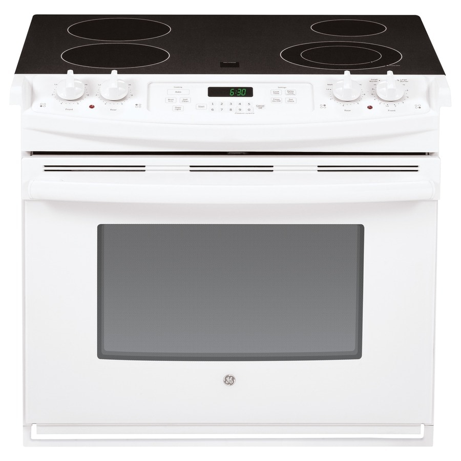 GE 30-in Smooth Surface 4.4-cu ft Self-Cleaning Drop-In Electric Range (White)