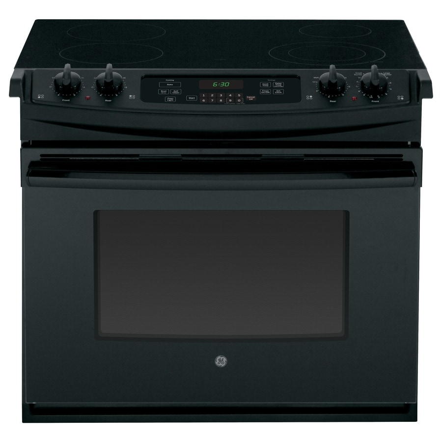 GE 30-in Smooth Surface 4.4-cu ft Self-Cleaning Drop-In Electric Range (Black)