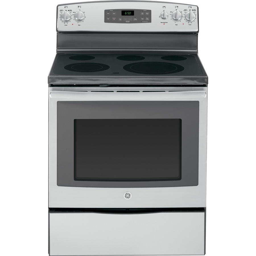 GE Smooth Surface Freestanding 5-Element 5.3-cu ft Self-Cleaning Electric Range (Stainless Steel) (Common: 30-in; Actual: 29.875-in)