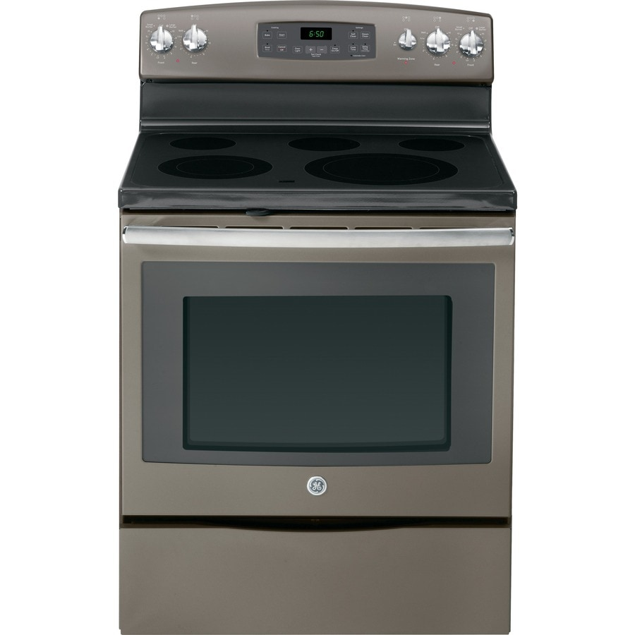 GE Smooth Surface Freestanding 5-Element 5.3-cu ft Self-Cleaning Electric Range (Slate) (Common: 30-in; Actual: 29.875-in)