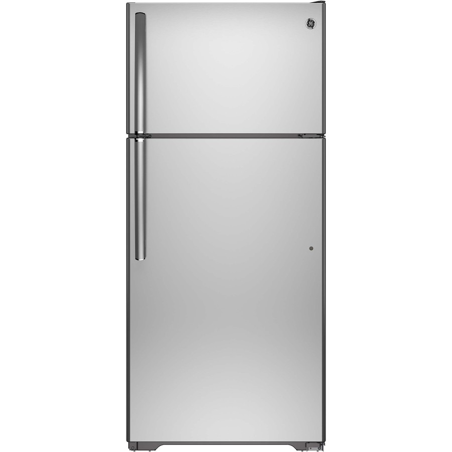 GE 15.5-cu ft Top-Freezer Refrigerator with Ice Maker (Stainless Steel) ENERGY STAR