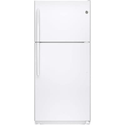 GE 18 2-cu ft Top-Freezer Refrigerator with Ice Maker (White