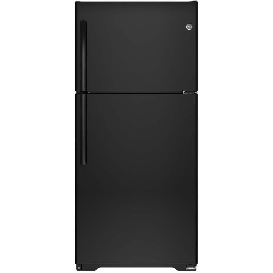 GE 18.2-cu ft Top-Freezer Refrigerator (Black) ENERGY STAR