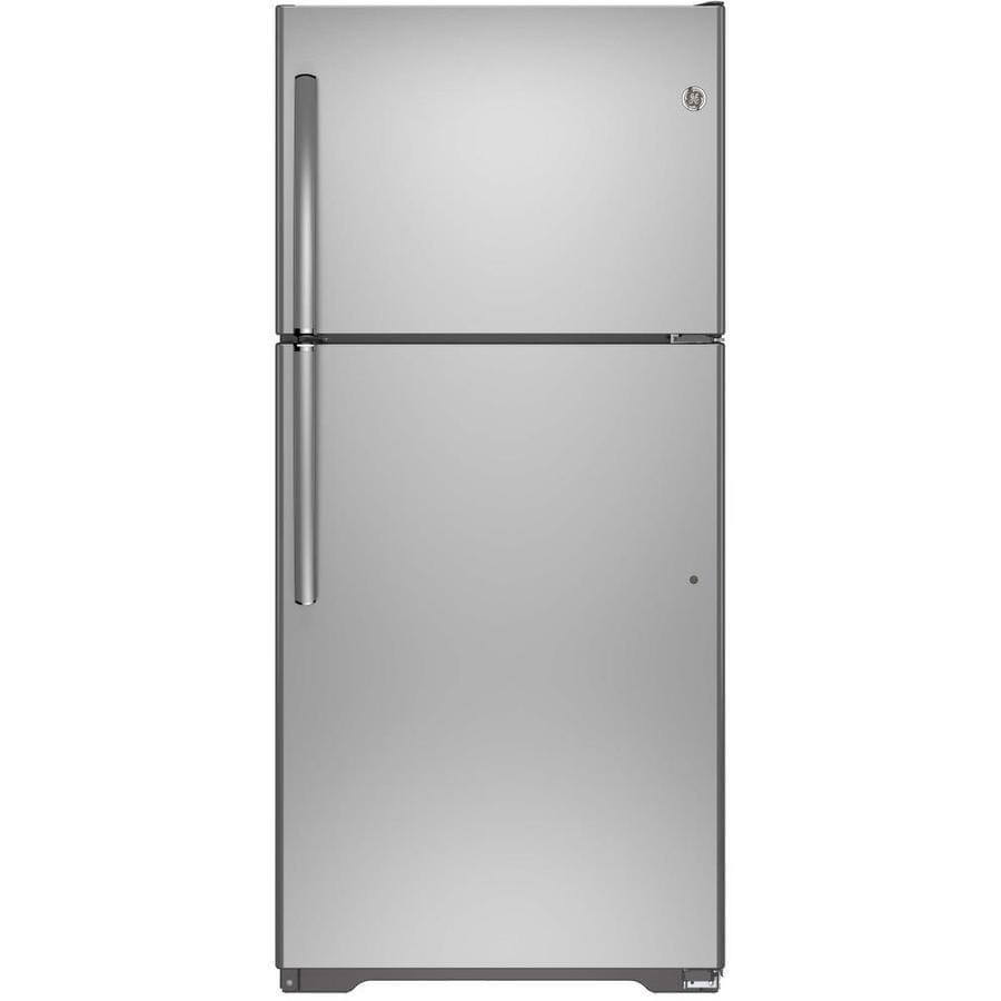 GE 18.2-cu ft Top-Freezer Refrigerator with Single Ice Maker (Stainless Steel) ENERGY STAR