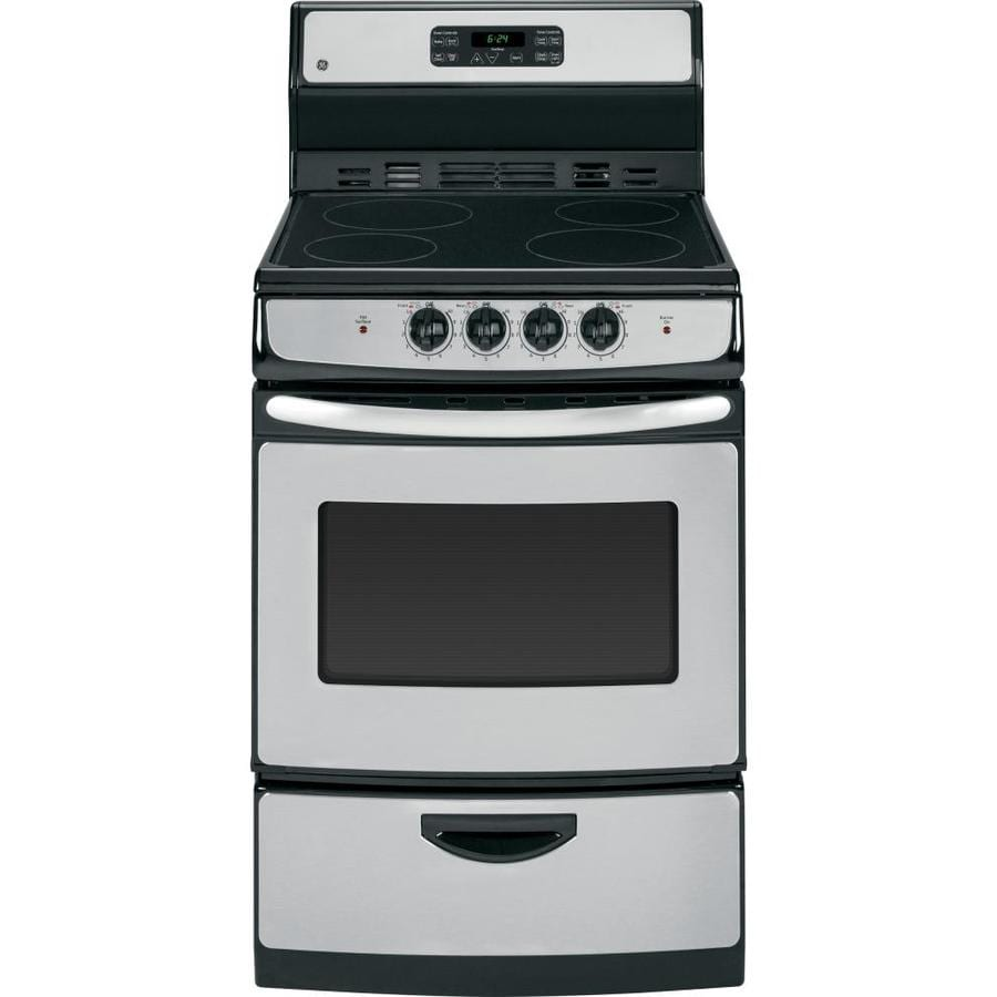 GE Smooth Surface Freestanding 3-cu ft Self-Cleaning Electric Range (Stainless Steel) (Common: 24-in; Actual: 24-in)