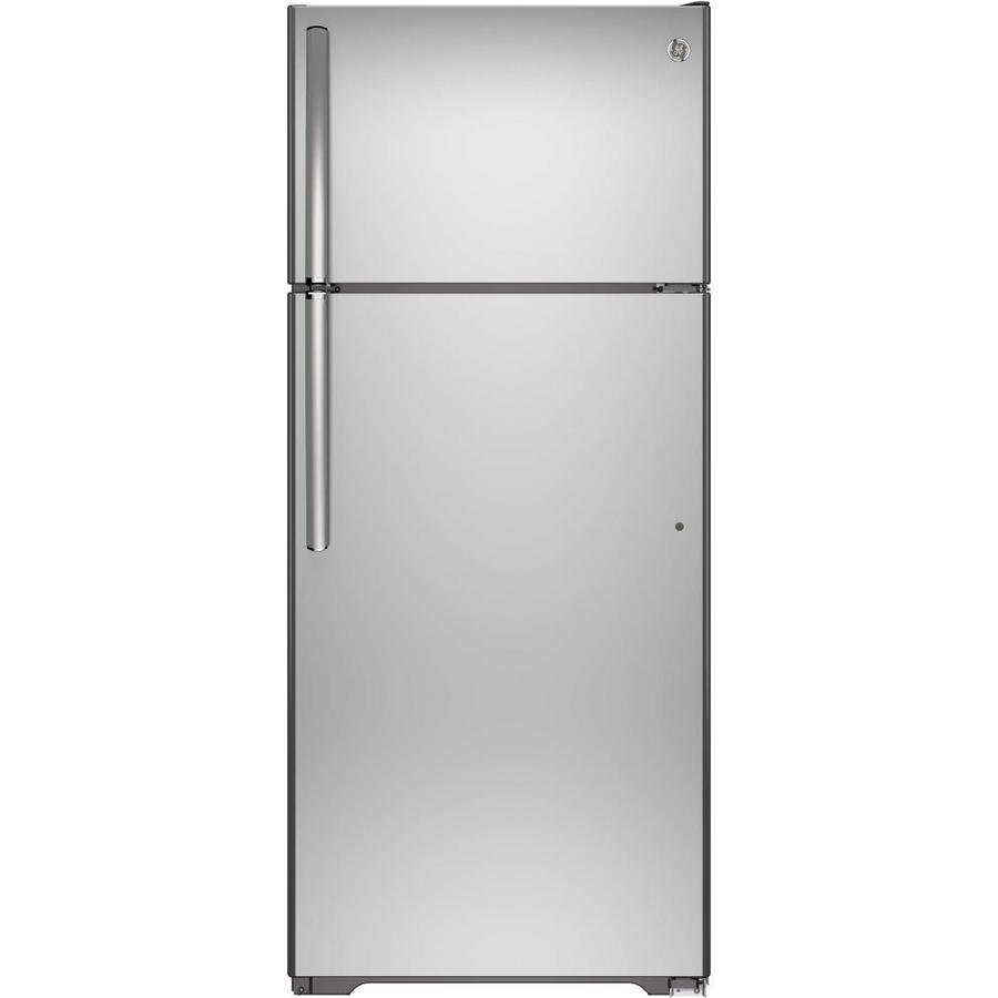 GE 17.6-cu ft Top-Freezer Refrigerator with Single Ice Maker (Stainless Steel) ENERGY STAR