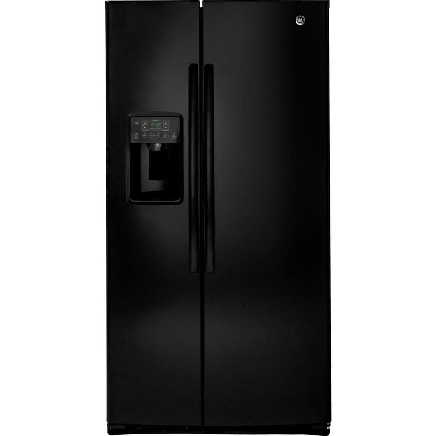 GE 25.4-cu ft Side-by-Side Refrigerator with Ice Maker (Black) ENERGY STAR