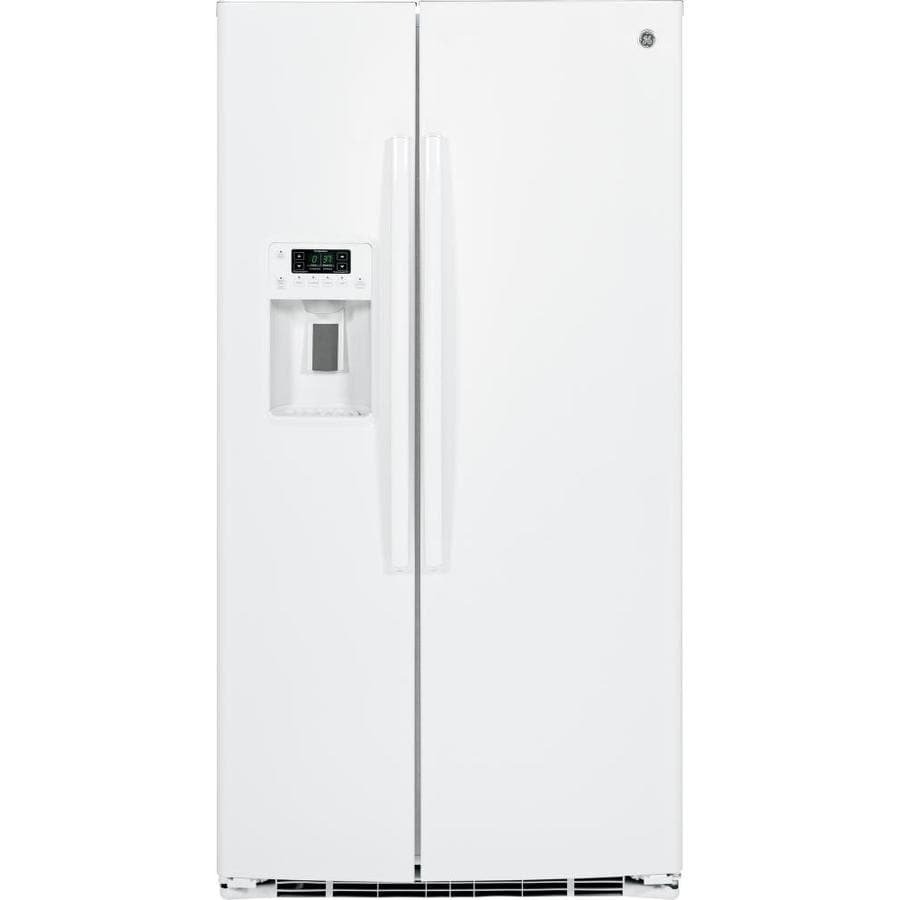 GE 25.4-cu ft Side-by-Side Refrigerator with Ice Maker (White) ENERGY STAR
