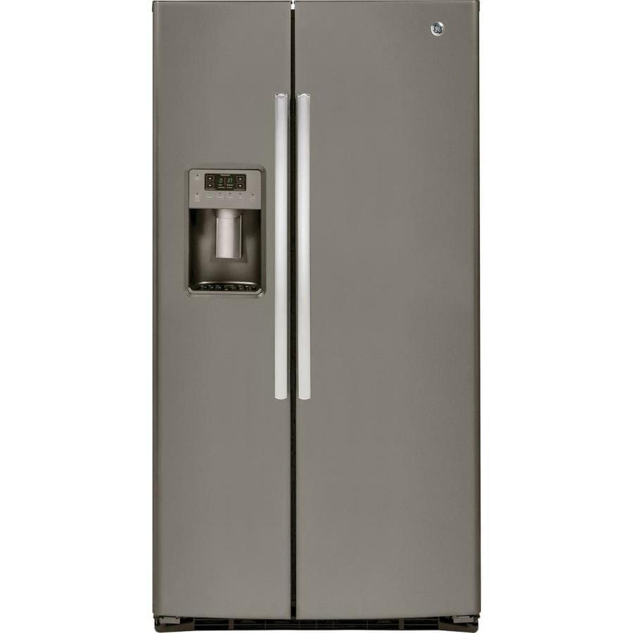 GE 25.4-cu ft Side-by-Side Refrigerator with Single Ice Maker (Slate) ENERGY STAR