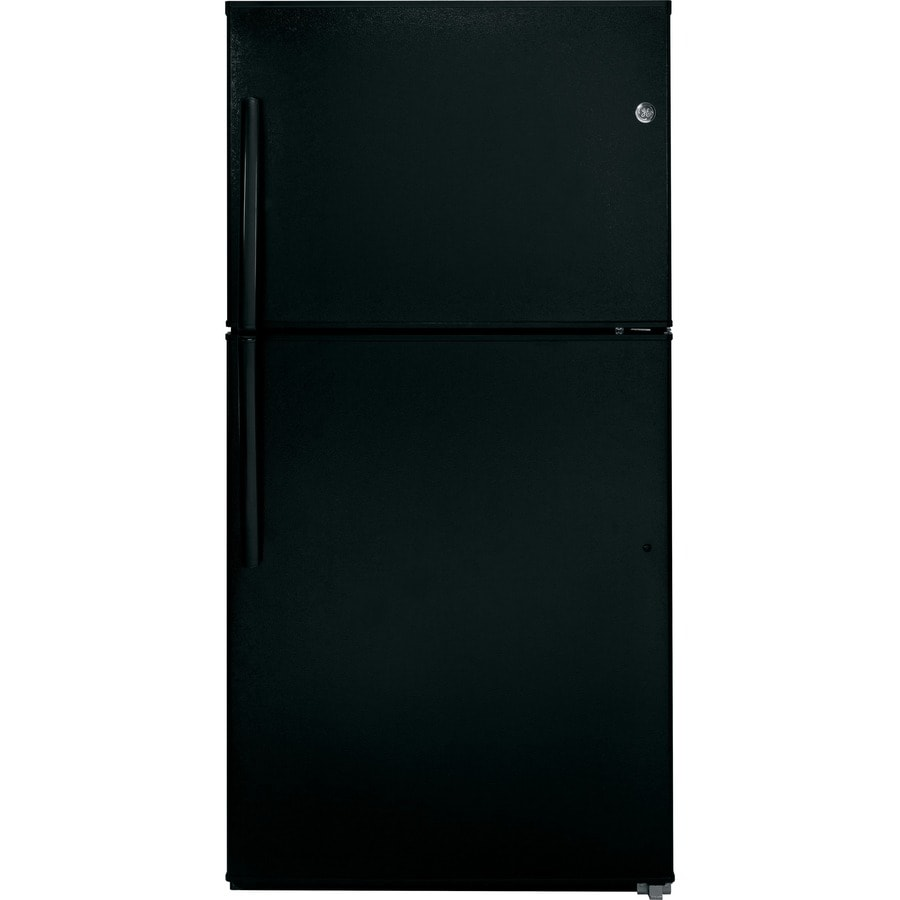 GE 21.2-cu ft Top-Freezer Refrigerator with Single Ice Maker (Black) ENERGY STAR