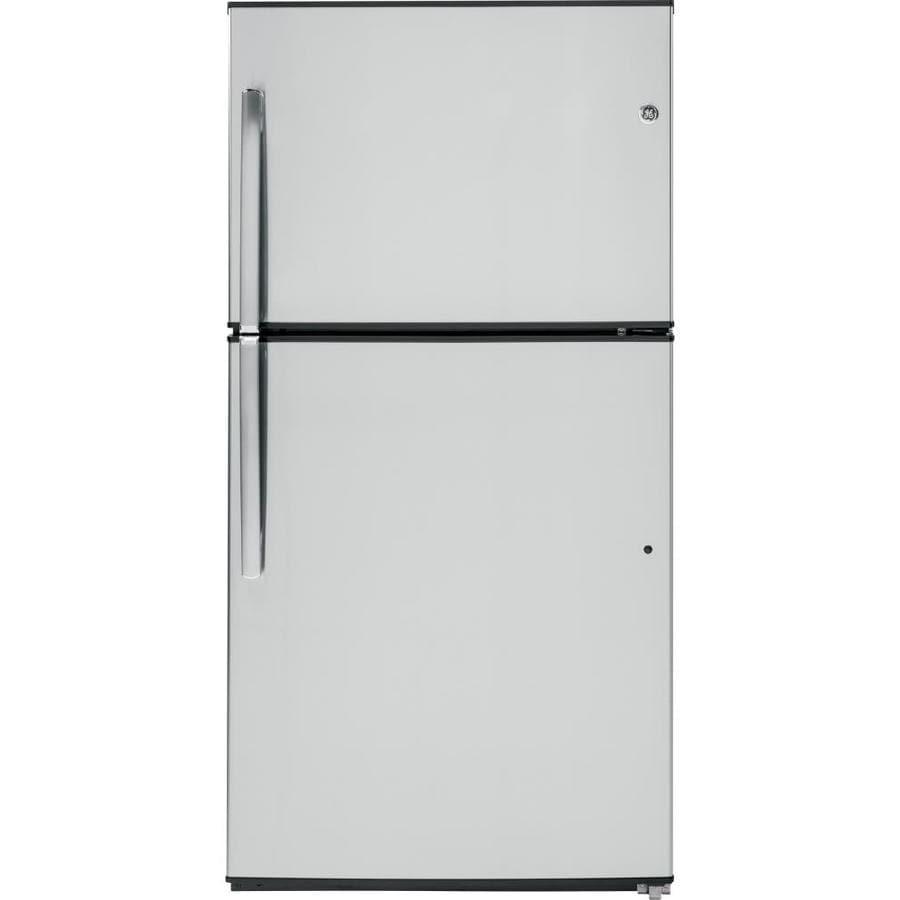 GE 21.2-cu ft Top-Freezer Refrigerator (Stainless steel) ENERGY STAR