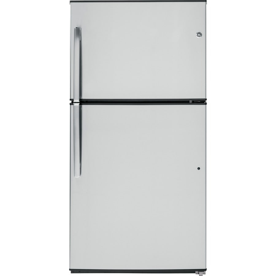 GE 21.2-cu ft Top-Freezer Refrigerator with Single Ice Maker (Stainless Steel) ENERGY STAR