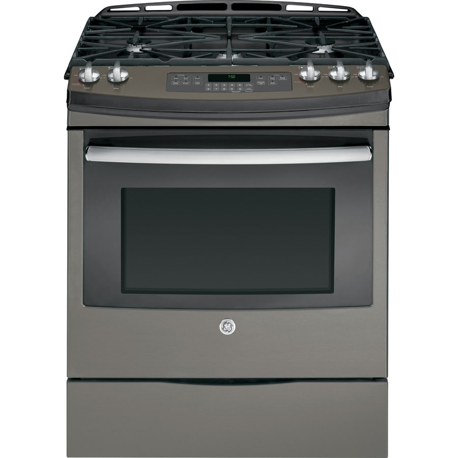 GE 5-Burner 5.6-cu ft Slide-in Convection Gas Range (Slate) (Common: 30-in; Actual 31.25-in)