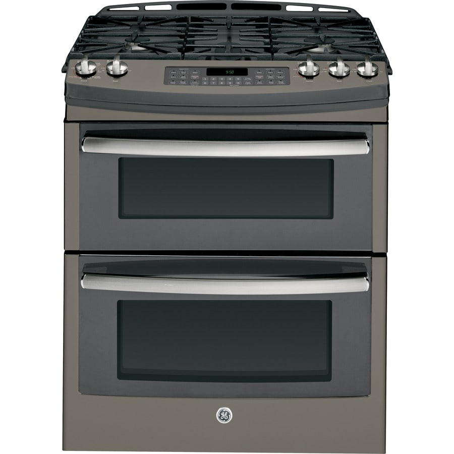 GE Profile Series 30-in 5-Burner 4.3-cu ft/2.5-cu ft Double Oven Convection Gas Range (Slate)