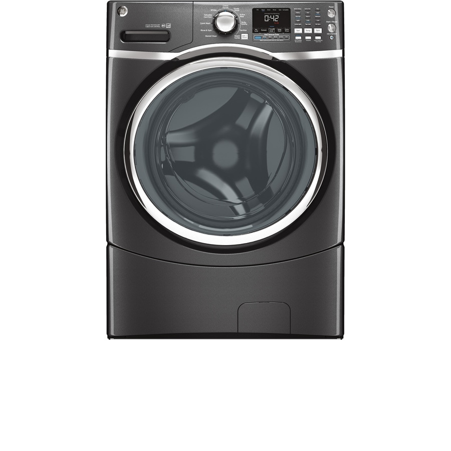 GE 4.3-cu ft High-Efficiency Stackable Front-Load Washer with Steam Cycle (Diamond Gray)