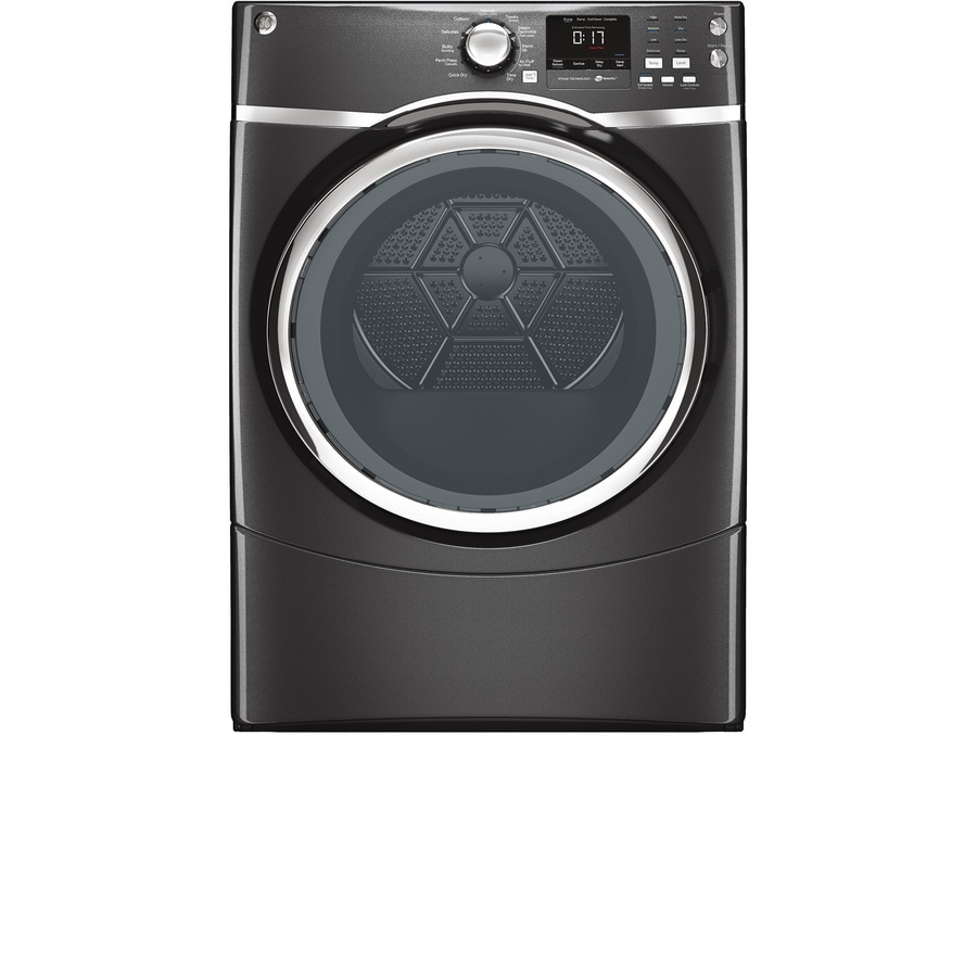 ge 75cu ft stackable electric dryer with steam cycle diamond gray