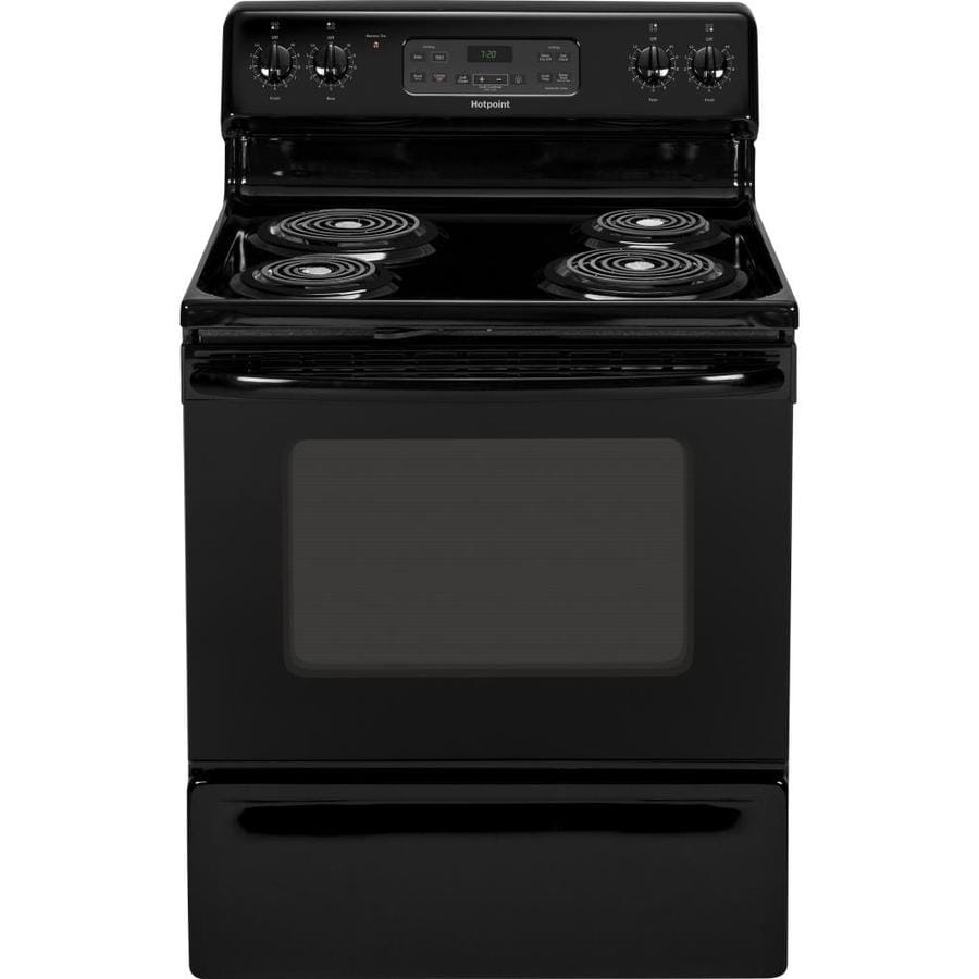 Hotpoint Freestanding 5-cu ft Self-Cleaning Electric Range (Black) (Common: 30-in; Actual: 29.875-in)