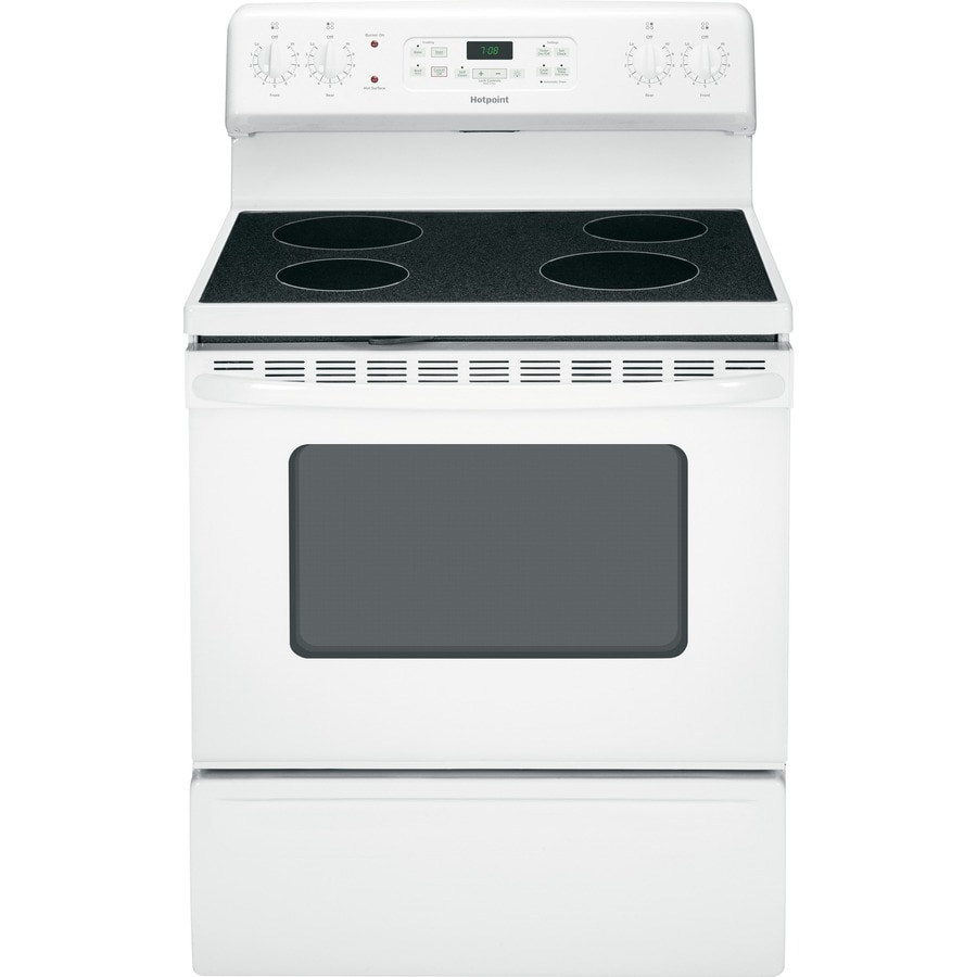 Hotpoint Smooth Surface Freestanding 5-cu ft Self-Cleaning Electric Range (White) (Common: 30-in; Actual: 29.875-in)