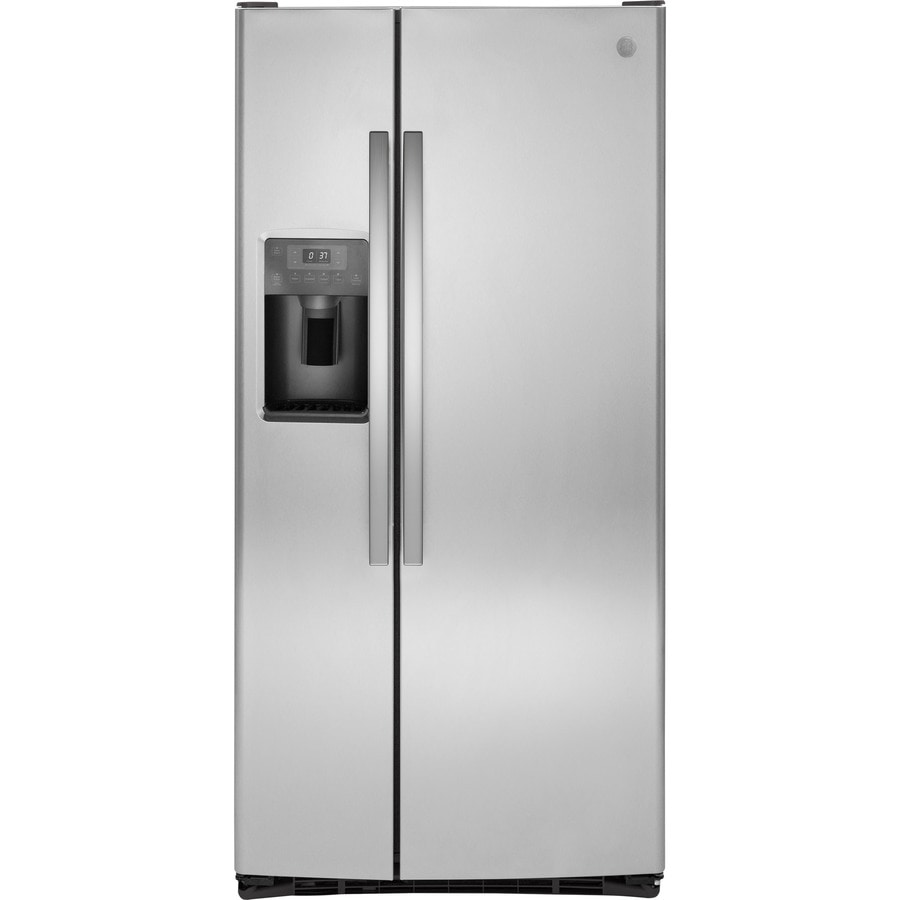 shop ge 22 5 cu ft side by side refrigerator with ice. Black Bedroom Furniture Sets. Home Design Ideas