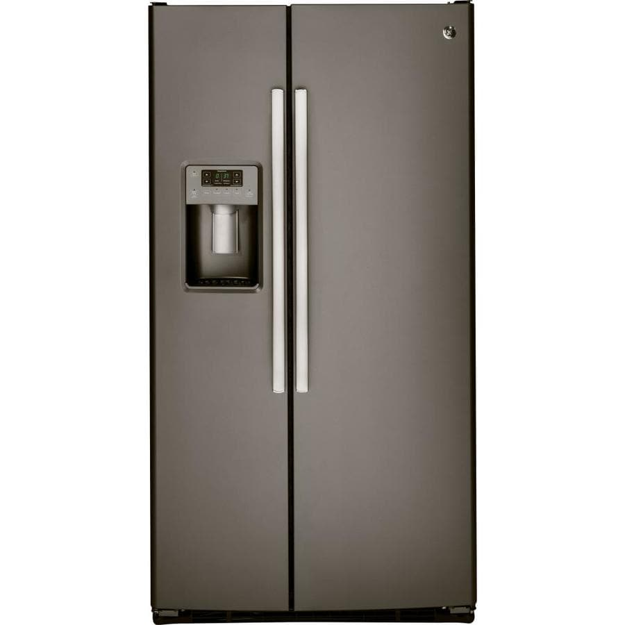 GE 22.5-cu ft Side-by-Side Refrigerator with Single Ice Maker (Slate)