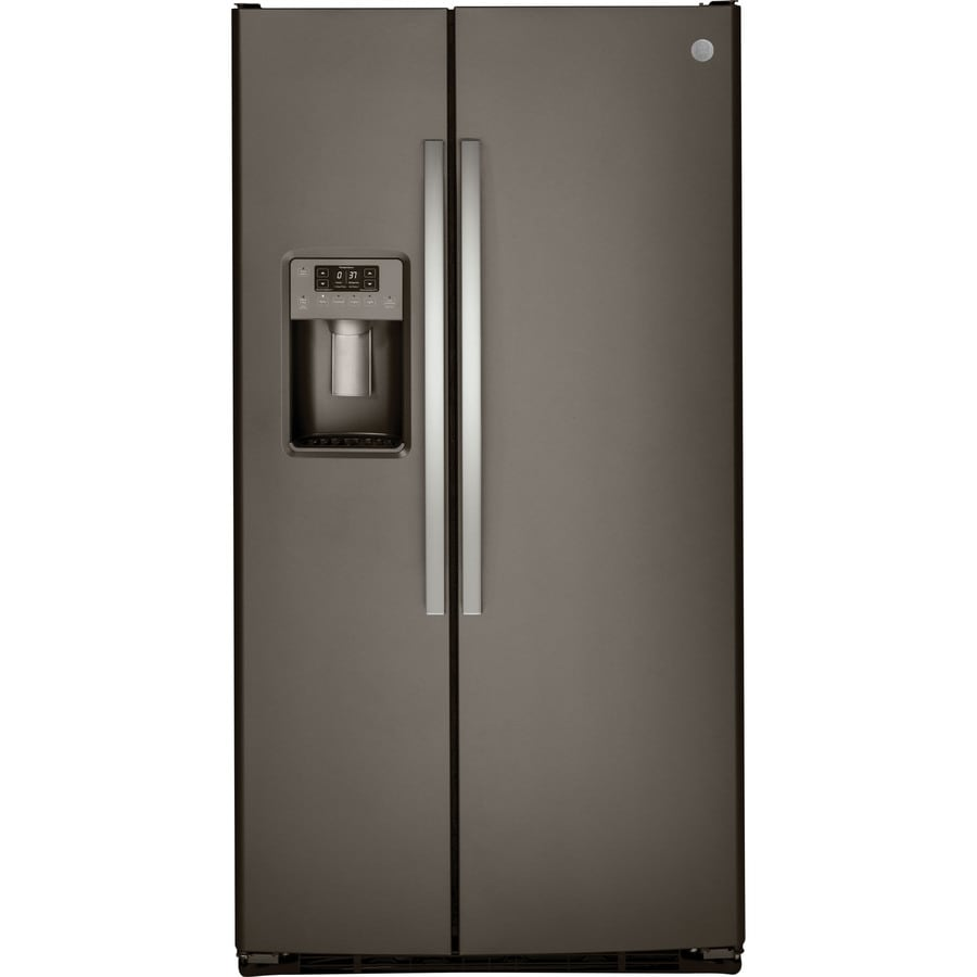 GE 25.4-cu ft Side-by-Side Refrigerator with Single Ice Maker (Slate)