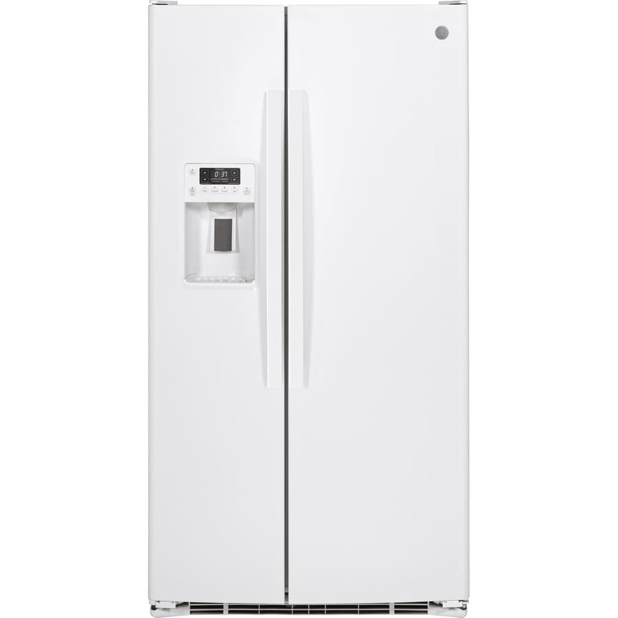 GE 25.4-cu ft Side-By-Side Refrigerator Single (White)