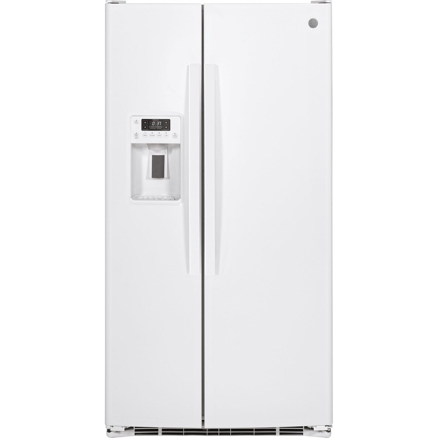 GE 25.4-cu ft Side-by-Side Refrigerator with Single Ice Maker (White)