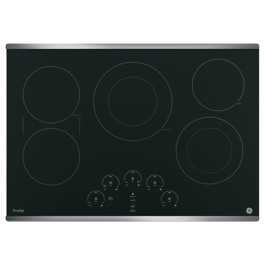 GE Profile 5-Element Smooth Surface Electric Cooktop (Stainless Steel) (Common: 30-in; Actual 29.875-in)