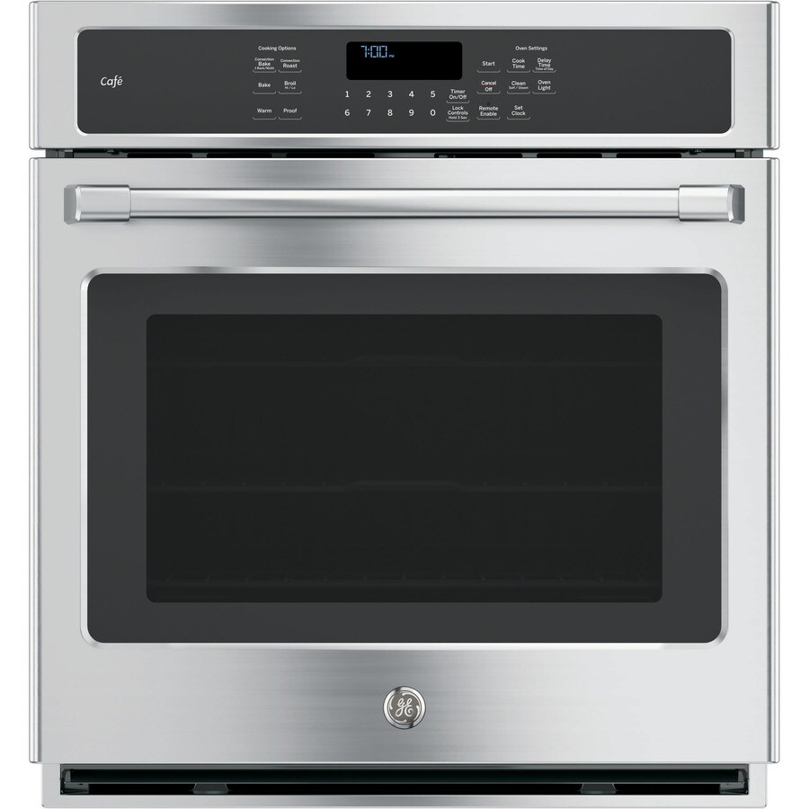 GE Cafe Series Self-Cleaning Convection Single Electric Wall Oven (Stainless Steel) (Common: 27-in; Actual 26.7187-in)
