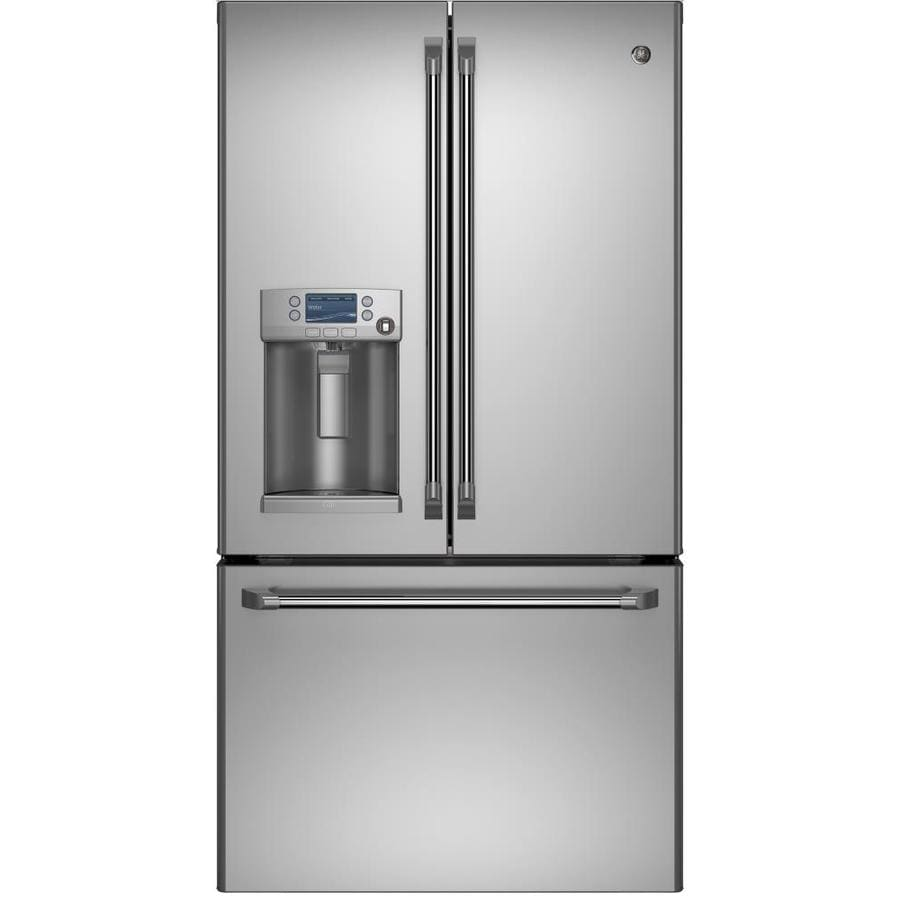 Shop ge cafe 27 8 cu ft french door refrigerator with ice for 8ft french doors
