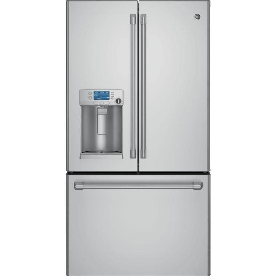 GE Cafe 22.1-cu ft Counter-Depth French Door Refrigerator with Ice Maker (Stainless Steel) ENERGY STAR