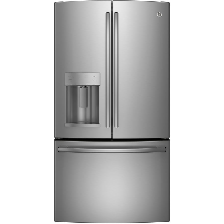 Kitchenaid 22 1 Cu Ft French Door Refrigerator With Ice: Shop GE 22.1-cu Ft Counter-Depth French Door Refrigerator With Ice Maker (Stainless Steel) At